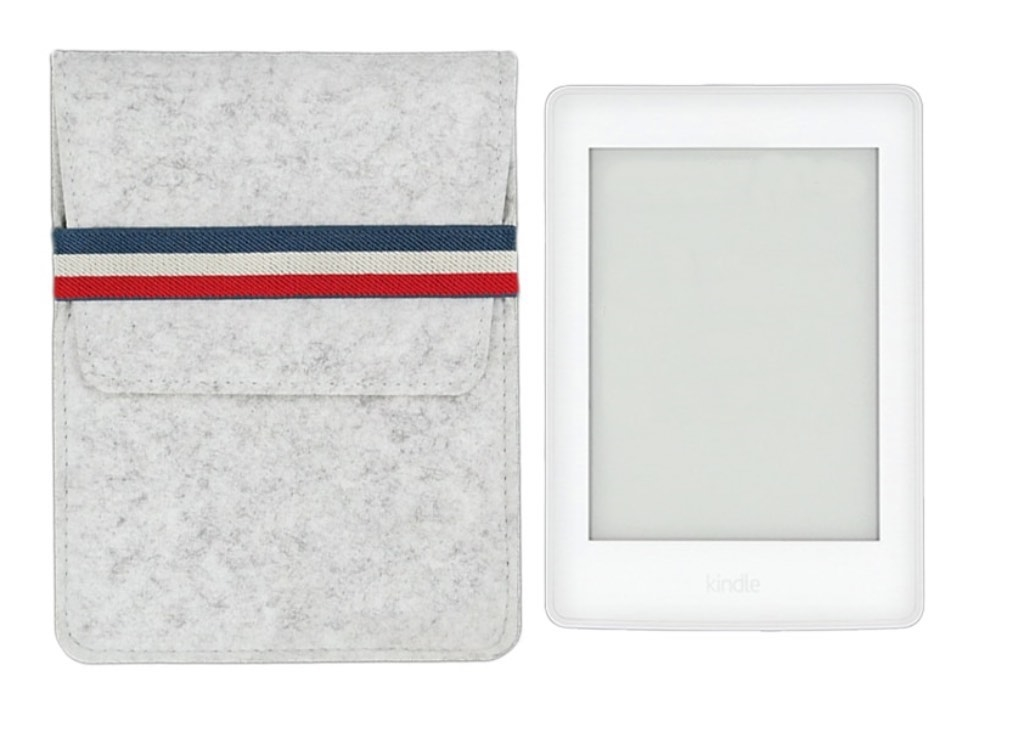 KindleShop Fransk sleeve lysegrå side om side med Kindle