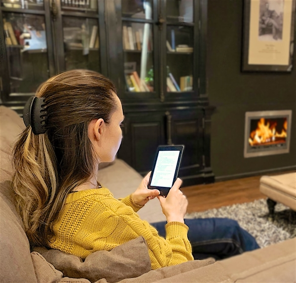 eBookReader Amazon Kindle 10 fireplace ild hyggeligt pejs læsning