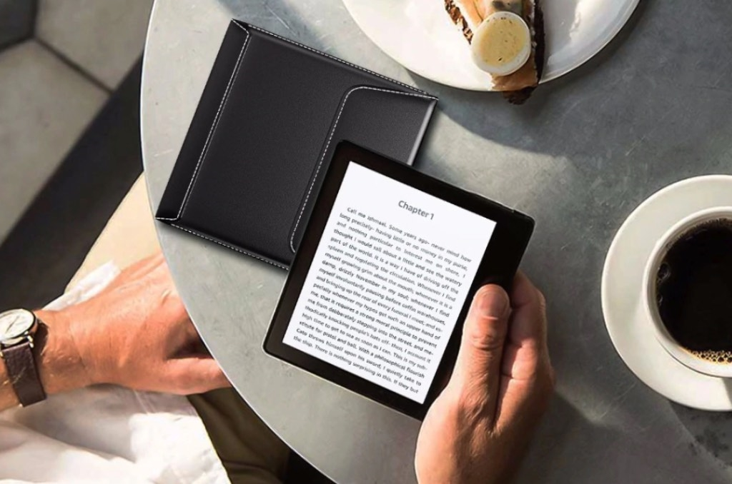 eBookReader Kindle Oasis pikant sleeve sort kaffe bord